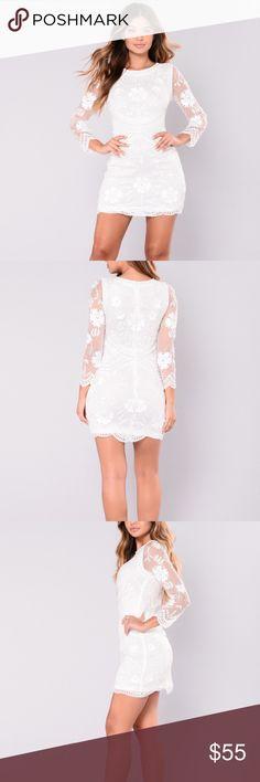 White Sequin dress never worn This dress is so figure flattering! Never worn, perfect dress. Fashion Nova Dresses Midi