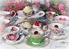Pink and Green Mismatched Eclectic Vintage China Tea Set with 3 Tier Teacup Top Cake Stand