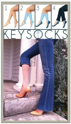 You walk in heels all day, anticipating the onset of the evil blisters that pop up on your heels and toes.Perhaps you should have slipped on a pair of Key Socks $10 before walking out the door.Offering the same slick protection against uncomfortable wear and tear on your feet that regular socks provide, you can wear these with heels thanks to the keyhole design. Hence, Keysocks. Covering just enough of your toe to stay on, they come all the way up to the knee to ensure they stay put all day…