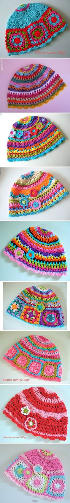 pretty crochet caps - What a cute way to use up all those little scraps of yarn! Bonnet Crochet, Crochet Beanie Hat, Knit Or Crochet, Crochet Granny, Crochet For Kids, Crochet Crafts, Knitted Hats, Hand Crochet, Knitting Projects