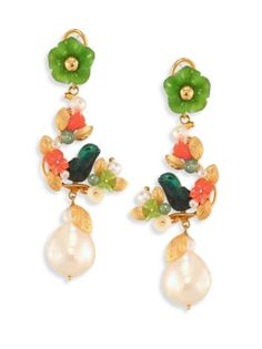Of Rare Origin - Partridge In A Pear Tree Round Freshwater Pearl, Jade & Coral Drop Earrings