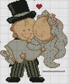 Art in Cross stitch: Various - graphic Minnie Baby, Wedding Cross Stitch Patterns, Blackwork, Cross Stitch Heart, Loom Patterns, Loom Beading, Love And Marriage, Cross Stitching, Needlework