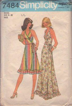 MOMSPatterns Vintage Sewing Patterns - Simplicity 7484 Vintage 70's Sewing Pattern THE ULTIMATE Summer Disco Era Wrap Around Hatler Top Short Dress or Maxi Gown Size S 8-10