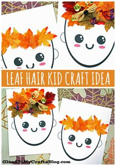 Mixed Media Leaf Hair and Crown - Fall Kid Craft Tutorial Toddler Arts And Crafts, Fall Arts And Crafts, Autumn Activities For Kids, Animal Crafts For Kids, Fall Art Preschool, Autumn Crafts For Kids, Preschool Crafts, Fall Art For Toddlers, Kindergarten Art Projects