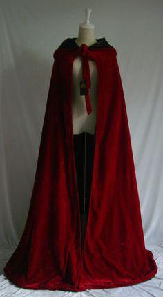 Dark Red Velvet Hooded Coat Wedding Cape Shawl Medieval Cloak Renaissance s XXL | eBay