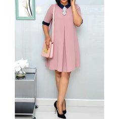 Ericdress Casual Color Block Knee-Length Half Sleeve Dress , formal dresses maxi dresses womens dresses summer dresses party dresses long dresses casual dresses dresses for wedding , # Short African Dresses, Latest African Fashion Dresses, Short Dresses, Cheap Dresses, Latest Fashion, Plain Dress, The Dress, Look Fashion, Fashion Outfits