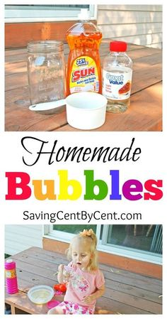 These homemade bubbles are inexpensive to make and it's a fun summer activity for kids. These homemade bubbles are inexpensive to make and it's a fun summer activity for kids. Summer Crafts For Kids, Crafts For Kids To Make, Summer Kids, Fun Crafts, Xmas Crafts, Summer Activities For Kids, Science For Kids, Toddler Activities, Craft Activities