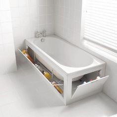 paredes laterais de banheira que se abrem para guardar produtos de higiene e outros