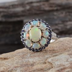 Ethiopian Welo Opal, Catalina Iolite, and Diamond Ring in Platinum Overlay Sterling Silver (Nickel Free)