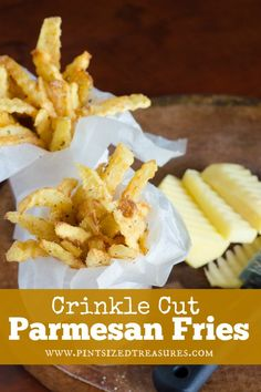 Crinkle cute, restaurant style fries are the perfect family junk food! Seasoned with herbs and tossed with Parmesan to give these taters, some BIG flavor!
