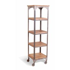 HICKS and HICKS Industrial 5 Tier shelving unit -  This industrial 5 tier shelving unit on wheels is the ultimate in trendy living.  A re-engineered metal and wood shelves with large wheels for moving around w...