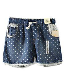 Lace Detail Elasticated Waist Denim Shorts In Polka Dot @yoyomelodydress