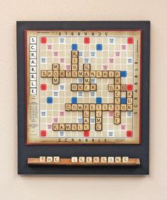 Scrabble Word Play Wall Decor relating to family. Scrabble Kunst, Scrabble Tile Crafts, Scrabble Wall Art, Magnetic Scrabble Board, Magnetic Letters, Scrabble Letras, Scrabble Wand, Book Themed Nursery, Home Theaters