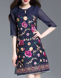 #VIPme Blue Floral Embroidery A-line Short Dress with Side Split ❤️ Get more outfit ideas and style inspiration from fashion designers at VIPme.com.