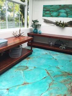 turquoise gem look on floor with metal effects patinas, diy, flooring, painting