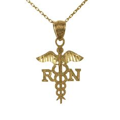 14k Yellow Gold Profession Necklace Pendant with Chain, 2D R N with Caduceus Symbol (Registered Nurse) ** Want to know more, click on the image.-It is an affiliate link to Amazon.