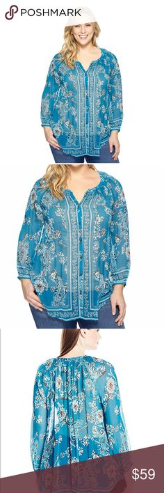 """1X LUCKY BRAND Turquoise White Peasant Top Blouse An allover floral and paisley print is given added dimension with the flowing silhouette and curved hem of this peasant blouse. Gorgeous color & very flattering style!!  Size 1X (also listing 2X & 3X)  Bust 25"""" Across underarm to underarm  Length 30"""" front & 32"""" back  Sleeve length: 31 inches   100% RAYON Lucky Brand Tops Tunics"""