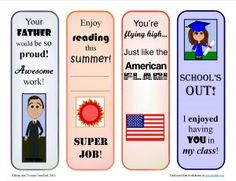 Free reward bookmarks for the month of June - promote reading while showing appreciation for your students.