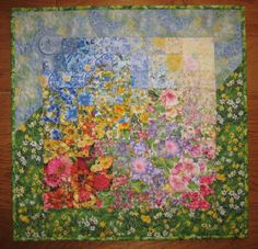 Art-Quilt-Spring-Sunshine-Garden-Flowers-Fabric-Wall-Hanging-Handmade