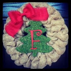 Burlap Christmas Wreath Rustic Christmas by SheekBurlapDesigns, $72.50