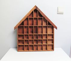 Tall Wood display case, Shadow Box Miniature display case, House Shaped Shelf, Treasure Display, Printers Drawer, Kids Room Decor H 21.2 in by EbyVintage on Etsy