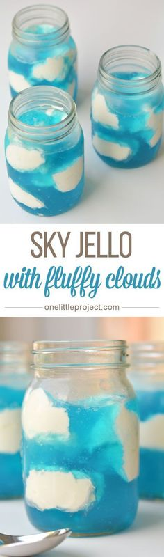 This sky jello is quick to put together and makes a SUPER FUN dessert! It's great for parties, but easy enough that you could make it on a weeknight! (Favorite Desserts Kids)