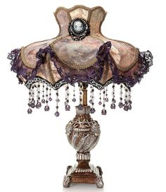ShopHQ Shopping - Style at Home with Margie Laced Jewel Victorian-Style Table Lamp. Shape, grandeur and style - this lamp has it all! The Laced Jewel table lamp features a scalloped, trimmed, laced and beaded fabric shade that adds Victori Victorian Lighting, Victorian Lamps, Antique Lamps, Antique Furniture, Victorian Furniture, Rustic Furniture, Outdoor Furniture, Purple Lamp, Pink Purple