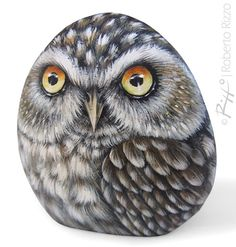 Little Owl Hand Painted On a Smooth Sea Rockl A by RobertoRizzoArt