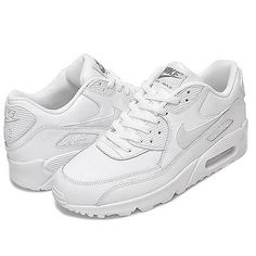 finest selection a5cc7 c14e8 Nike Air Max 90 Leather Gs Big Kids 724821-100 White Running Shoes Youth Sz  5