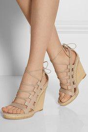 AquazzuraAmazon leather, rope and wood wedge sandals