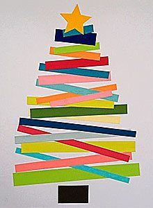 arbol navideño de pared hecho con bandas de papeles de color