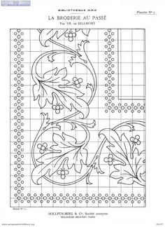 from Madam Therese de Dillmont's work. Quilt Border, Border Pattern, Border Design, Pattern Art, Free Pattern, Embroidery Stitches, Hand Embroidery, Machine Embroidery, Embroidery Designs