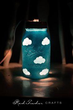 Blue Mason Jar Night Light with cloud pattern. by RedTudorCrafts