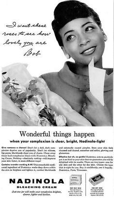 Nadinola Bleaching (Skin Lightening) Cream Advertisement - Ebony Magazine, November, 1959 by vieilles_annonces, via Flickr