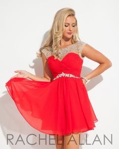 Rachel Allan 6635 Red Silver Homecoming Dress
