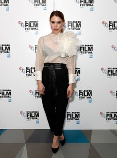 Billie Piper in Rocco Barroco Sheer White Blouse, London Film Festival, London Films, Billie Piper, Black Bra, Hollywood Glamour, Casual Wear, Fashion Forward, Celebrity Style