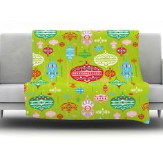 "KESS InHouse Ornate by Miranda Mol Fleece Throw Blanket Color: Green, Size: 80"" H x 60"" W x 1"" D"