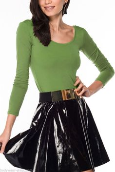 Bodywear Shop Damen T-Shirt Langarm U-Boot Neck Rückenfreies Rockshirt Aloegrün