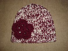Baby Girl Maroon and Cream Double-Strand Chunky Crochet Flower Hat / Beanie, Texas A, TAMU, Aggie, Mississippi State Bulldog. $20.00, via Etsy.