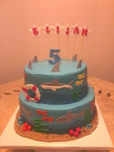 Shark Birthday Cake - 8 & 10 inch double layers with mmf accents