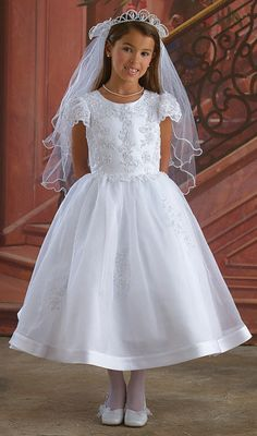 b779b8e82a3a Buy Seductive Short Sleeves Applique Organza Princess First Communion Dress  (BSFCD-019) Online