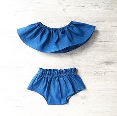 The must have for this summer! Beautiful Stella set of shorts and matching off the shoulder style crop top is perfect for summer. Handmade from a denim fabric with very good quality, The elastic are very flexible so your baby will not be compressed. The design was created by me and exclusive only to Miss Lyla!