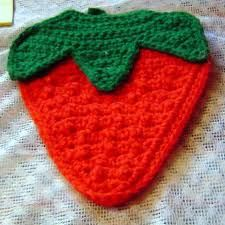 crochet strawberry placemat - Google Search