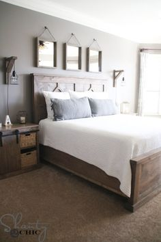 Beautiful Farmhouse and Rustic Master Bedroom. Find out how Shanty 2 Chic built Beautiful Farmhouse and Rustic Master Bedroom. Find out how Shanty 2 Chic built Modern Master Bedroom, Farmhouse Master Bedroom, Bedroom Rustic, Master Bedrooms, Contemporary Bedroom, Trendy Bedroom, Master Suite, Modern Rustic Bedrooms, Bedroom Neutral