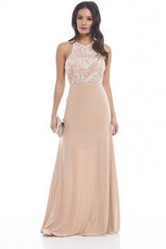 WOMEN'S CROCHET MESH TOP SLINKY MAXI NUDE DRESS<br/><div class='zoom-vendor-name'>By <a href=http://www.ustrendy.com/AXParisUSA>AX Paris USA</a></div>