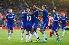Hazard celebrating his goal against Southampton. 12/28/2014