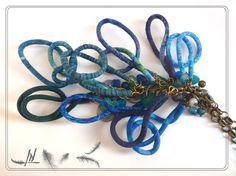 """Sautoir textile collection """"tournicoti tournicoton""""!!!! tissus bleus, perles de jades, de verres, de nacre"""
