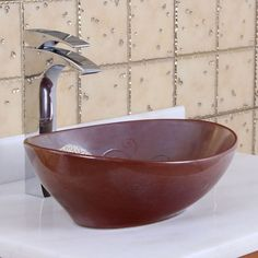 Elite 1566 Oval Mohogany Glaze Porcelain Bathroom Vessel Sink