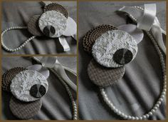 #necklace #handmade #jewelry #fashion #fabricsjewelry #style #accessories #unique #vintage #clock #watch #doily #beige #brown #satin #bow #pearls #lace #retro #romantic #autumn