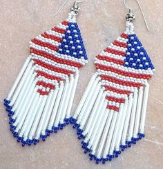 American Flag beaded earring ideas